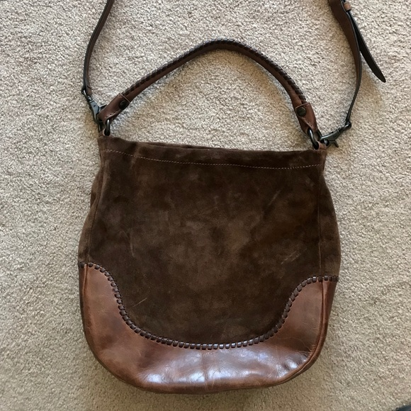 Frye Handbags - Frye Melissa Whipstitch Hobo Handbag Brown Suede e81b235eeb489